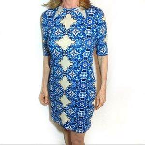 Blue and Cream Patterned Midi Dress